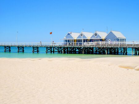 busselton: Busselton, Western Australia - January 13: Busselton Jetty on a sunny day with tourists in front of souvenir shop in Busselton on January 13, 2016