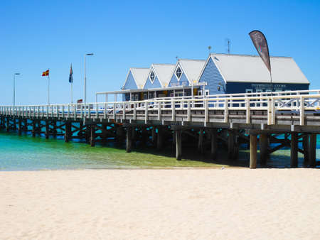 busselton: Busselton, Western Australia - January 13: Busselton Jetty on a sunny day with tourists in front of interpretive centre in Busselton on January 13, 2016 Editorial