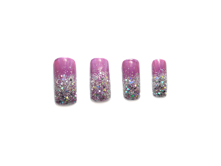 artificial nails: Glitter nail art on artificial nails isolated on white background