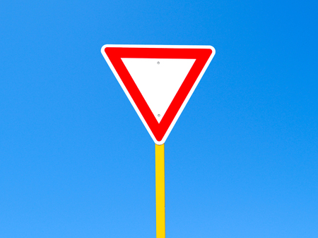 clear path: Blank sign on clear blue sky background (with clipping path)