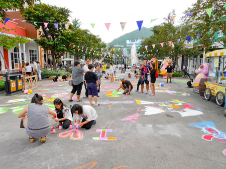 scenical: Khaoyai, Thailand - December 4: People do colorful sand art on the street at amusement park Scenical World, Khaoyai on December 4, 2016. Editorial
