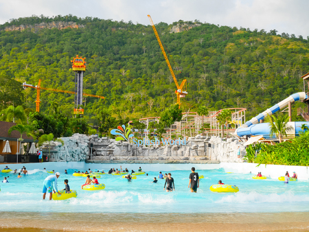 scenical: Khaoyai, Thailand - December 4: People enjoy playing at water park in Scenical World, Khaoyai on December 4, 2016.