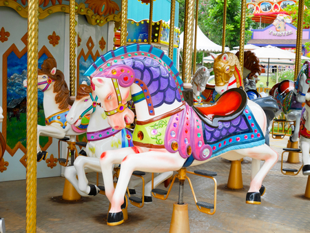 scenical: Khaoyai, Thailand - December 4: Horses on merry-go-round in amusement park Scenical World, Khaoyai on December 4, 2016. Editorial