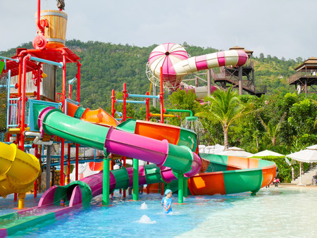 scenical: Khaoyai, Thailand - December 4: Kids enjoy playing at water park in Scenical World, Khaoyai on December 4, 2016.