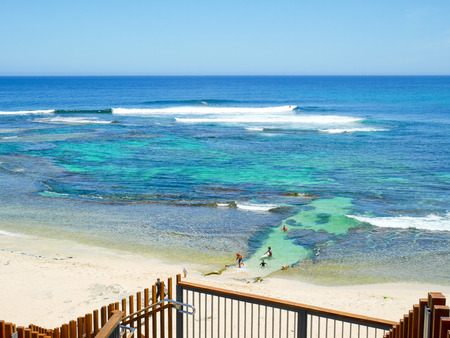 View of Surfers Point, Margaret River, Western Australia and travelers