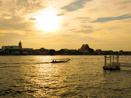 Scenery of Chao Phraya River at sunset in Bangkok, Thailand