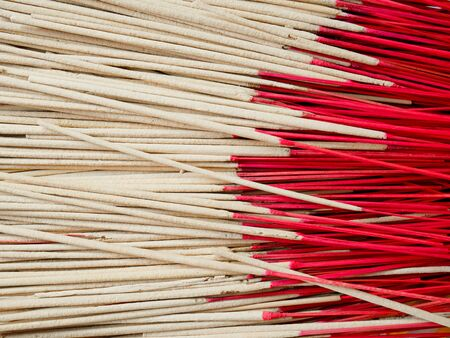 temple burn: Piles of joss sticks in temple Stock Photo