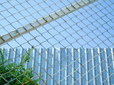 Wire fence with a bird standing on steel fence outside