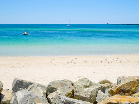 busselton: Sailboats in blue sea