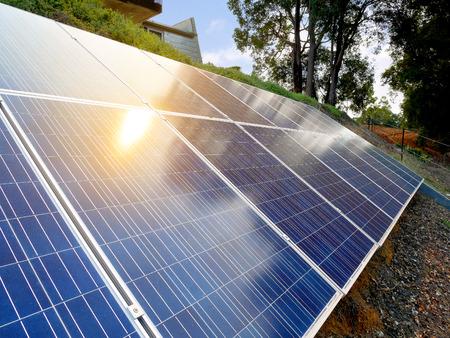 Backyard Solar Panels solar panels on backyard stock photo, picture and royalty free image