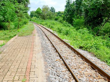 Railway track in rural area Stock Photo