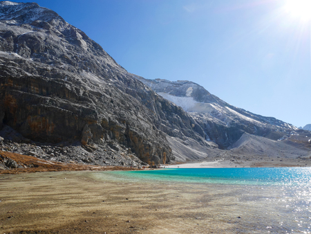 Milk Lake in Yading Nature reserve, Sichuan, China. Beautiful nature landscape.