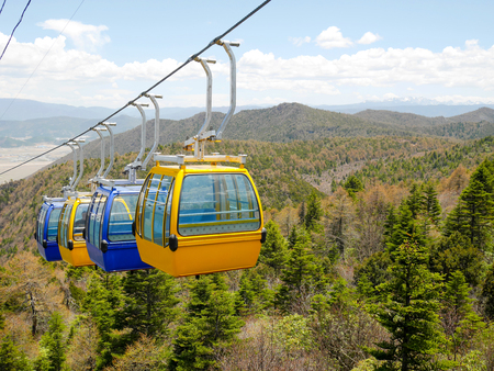 Cable car or aerial tram on shika snow mountain, Shangri-La, Yunnan, China