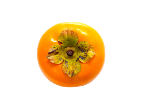 Fresh ripe persimmon isolated on white