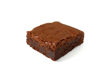 Delicious and crunchy homemade chocolate brownie isolated on white