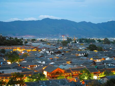 View of historic rooftops in the old town of Lijiang, Yunnan, China. Reklamní fotografie