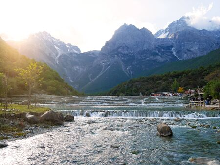 Cascading pools in Blue Moon Valley with Jade Dragon Snow Mountain