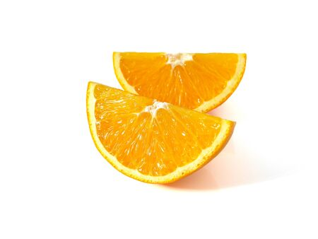 Fresh ripe orange slices isolated on white