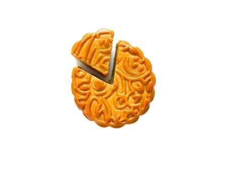 Mooncake with durian filling isolated on white  for Mid-Autumn Festival or Mooncake Festival.