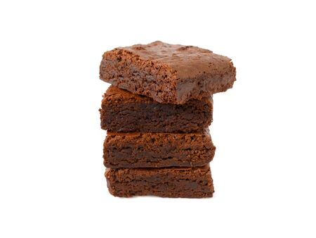 Stack of homemade chocolate brownies isolated on white