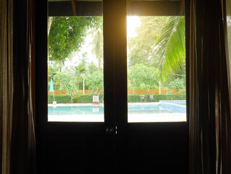 View of swimming pool from room window