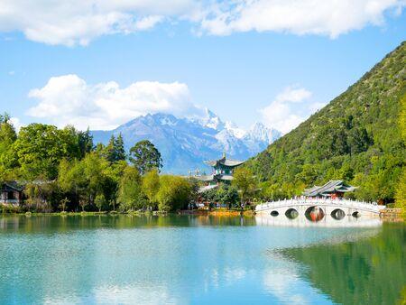 Scenery of Black Dragon Pool in Jade Spring Park (Yu Quan Gong Yuan) with Jade Dragon Snow Mountain
