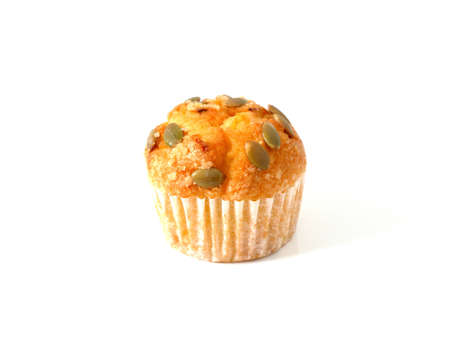 Pumpkin muffin isolated on white background