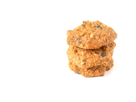 Stack of oatmeal cookies isolated on white background. Top view.