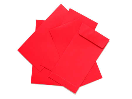 Red packets or red envelopes isolated on white