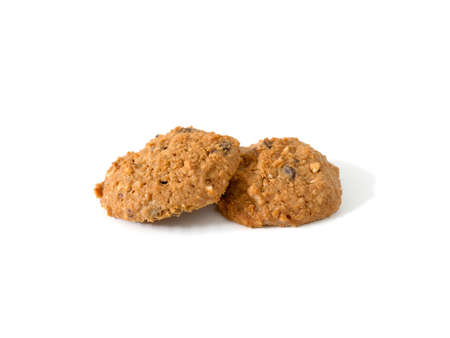 Pile of oatmeal cookies isolated on white background. Top view.