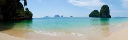 Panoramic Phra Nang Cave beach on a sunny day in Krabi, Thailand