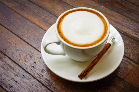 hot milk  coffee on wooden table   스톡 콘텐츠