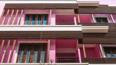 residential idyll: Windows and verandahs of condominium. Stock Photo