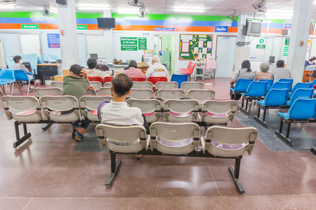 LAMPHUN - March 12  Patients in a waiting room at a Lamphun Hospital in the l on  March 12, 2014 in Lamphun Province  The hospital was opened in 1962 and currently has 433 beds
