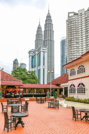 KUALA LUMPUR, MALAYSIA - March 15   Restaurant at the  Petronas Twin Towers on the evening  Photo taken March 15, 2014 in Kuala Lumpur, Malaysia