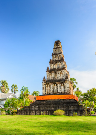 dvaravati: Wat Chama Thewi (Wat Kukut). Constructed around the 13th century A.D.Pagoda adorned with standing Buddha