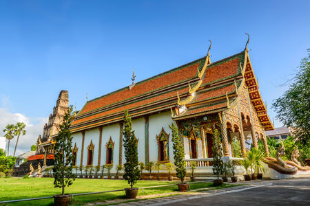dvaravati: LAMPHUN,THAILAND-September 28:Wat Chama Thewi (Wat Kukut). Constructed around the 13th century A.D.Pagoda adorned with standing Buddha ,and considered the best examples of Dvaravati period architecture in Lamphun Thailand  - September 28, 2014 Editorial