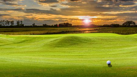 golf ball on green. 스톡 콘텐츠