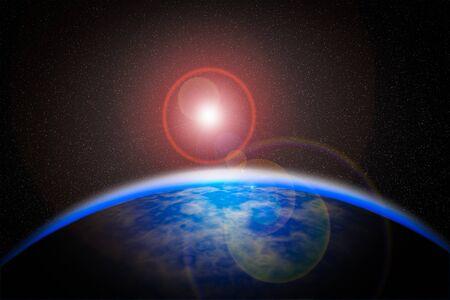 half globe: Space sunrise, good morning world!