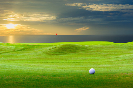 golf ball on green. Imagens - 39492647