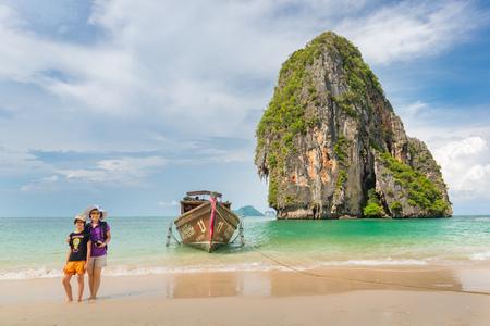 seaboard: KRABI, THAILAND - May 12 : Tourist on the beach of Krabi province on May 12 , 2014, Thailand. Krabi is a southern province on Thailands Andaman seaboard with many beautiful beaches.