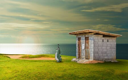 toilet at golf course and golf equipment. Stok Fotoğraf