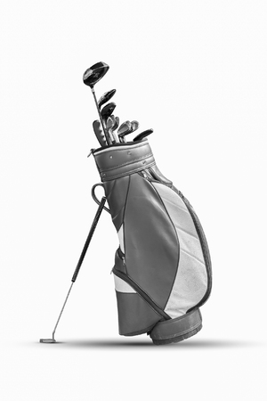 Golf clubs and Bag Isolated. black and white.