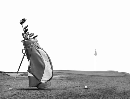 pitching: Golf Clubs , Ball , Bag on green Isolated  on white background.