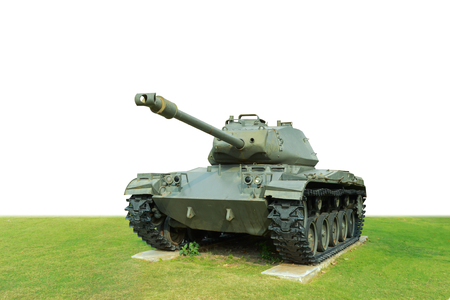 Vintage american  tank isolated on white background.