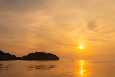 Morning sunrise at the pier Railay Bay, railay Beach railay Amphur Muang, Krabi Thailand is located in the zone of the National Park, the Nopparat Thara Beach,1 apr 2018