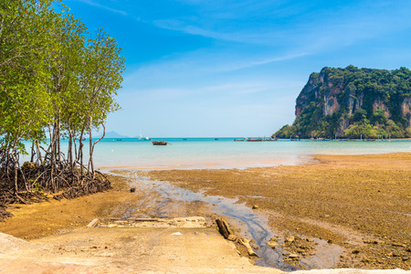 Morning blue sky at the pier Railay Bay, railay Beach railay, Amphur Muang, Krabi Thailand is located in the zone of Nopparat Thara Beach National Park,  ,1 april 2018