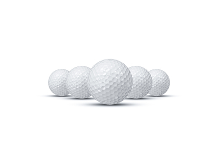 Five Golf ball isolated on white background. Stock Photo