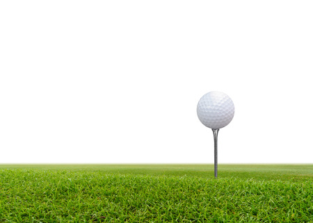 Golf ball on green grass isolated on white background.