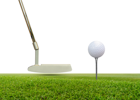 Golf ball and Putter on green grass isolated on white background.